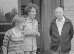 Bence György, Kenedi János és Kis János a Bibó-emlékkönyv szerkesztése idején (Halda Alíz felvétele 1980)