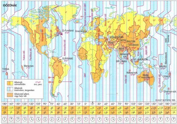 Az időzónákra osztott Föld. Alapvetően jól működik, de néha túl sok a kivétel