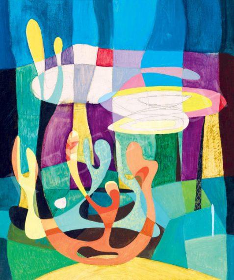 Bojár Iván: Víz alatti világ, 55,5 x 45,5 cm, olaj, farost, jelzés nélkül © Bojár Iván András Fotó: Darabos György A Kieselbach Galéria jóvoltából