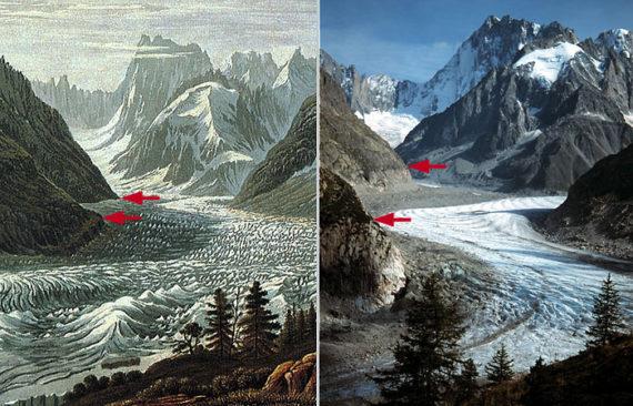 A Mer de Glace látképe Montenvers felől, Mont Blanc régió, Francia Alpok. A bal oldali festmény Birman alkotása nem sokkal a kis jégkorszak maximum után (18-19. század fordulója). A jobb oldali fotográfia hasonló szemszögből készült 2000-ben. A nyilak a völgyoldal ugyanazon pontját jelölik, egyértelműen jelezve a gleccser zsugorodását. (Festmény: Gugelmann Collection, Swiss National Library, Bern; fotó: M. J. Hambrey, 2000)