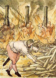 Bűnbakkeresés: az emberi természet sajátja. Boszorkányégetés, 1587. (Wickiana)